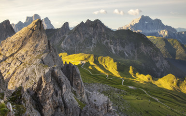 Panoramic view of the Giau Pass, in the background the Pelmo and Civetta Mount, Dolomites, Cortina D'Ampezzo, Italy