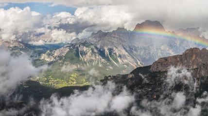 Rainbow above Cortina d'Ampezzo, Dolomites, Italy