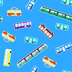 Bright kids pattern with color cartoon flat city transport on blue background. Cute children texture with bus, tram, trolley bus and subway for wrapping paper, textile, wallpaper, cover, package
