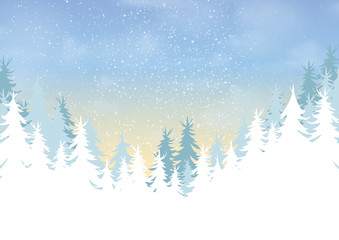 Pine forest on winter season landscape background.For merry christmas and happy new year.Vector illustration.