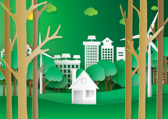 Nature landscape, house and eco city with green background.Eco friendly and environment conservation concept design paper art style.Vector illustration.