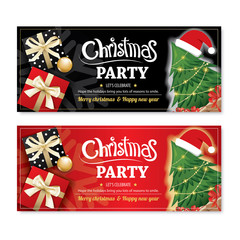 Invitation merry christmas party poster banner and card design template on black and red background. Happy holiday and new year with tree and gift box theme concept.