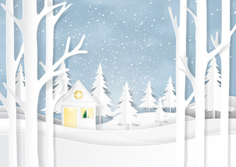 Nature landscape and house on snow winter background.For merry christmas and happy new year paper art style.Vector illustration.