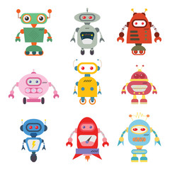 cute robot set vector