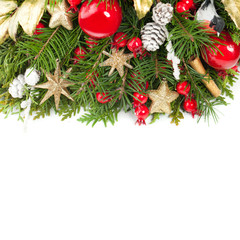 Christmas Concept. Red Christmas Balls, Decoration, Xmas Tree Twig, Golden Glitter Star on White Background. New Year Background Border with Copy Space