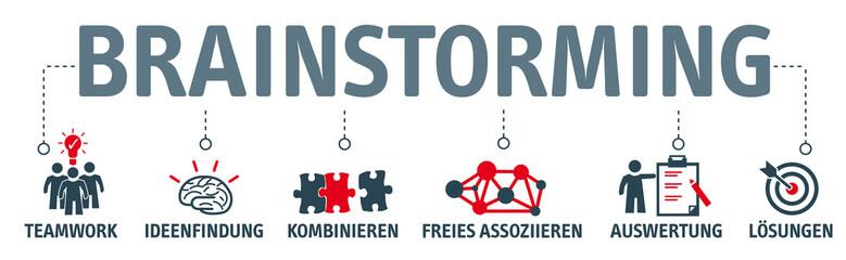 Banner Brainstorming Konzept mit Vektor icons