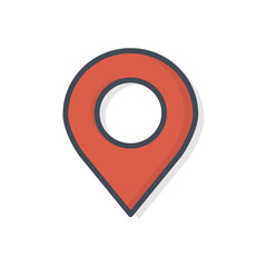 Support service colored icon map pin target