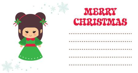 cartoon cute christmas elf christmas card