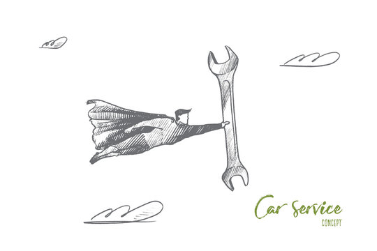 Car service concept. Hand drawn superhero with wrench in hand. Flying man holds spanner as symbol of repair isolated vector illustration.