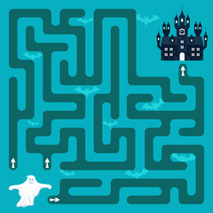 Help the ghost to find the right way to his old home. A game (maze) for children.