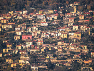 a village of Lake Como,Italy, lit by the rays of the sun in the afternoon