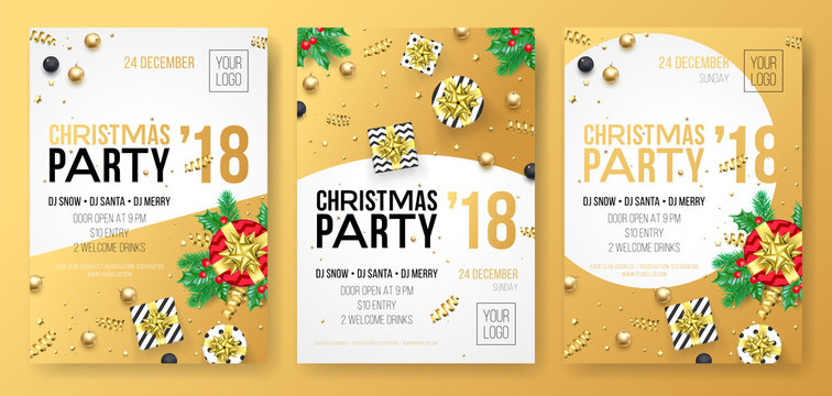 Christmas winter holiday party celebration poster or invitation card of golden decoration and gold gift present. Vector glittering confetti on white background for New Year party design template