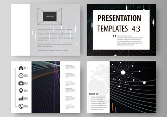 Business templates for presentation slides. Vector layouts. Black color abstract infographic background in minimalist design made from lines, symbols, charts, diagrams and other elements