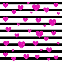 VECTOR. Valentines day card background. Black and white stripes and magenta hearts