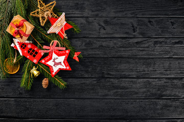 Christmas background with Christmas tree and Christmas tree decorations.
