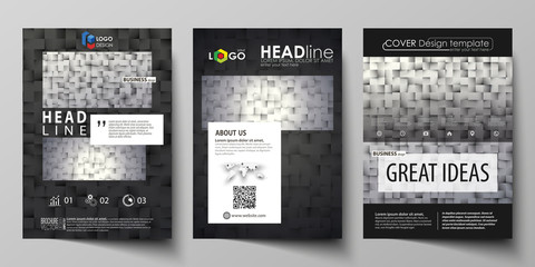 Business templates for brochure, magazine, flyer, report. Cover design template, abstract vector layout in A4 size. Pattern made from squares, gray background in geometrical style. Simple texture