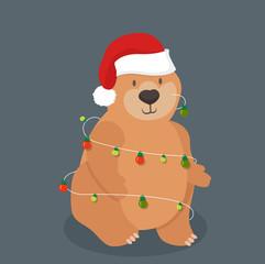 cute bear with santa hat