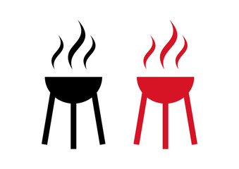 Black and Red Barbecue Toaster Silhouette Logo Symbol