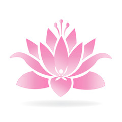 Lotus flower and yoga man logo