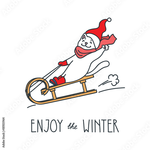 Enjoy The Winter Doodle Vector Illustration Of Funny White Cat