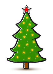 Vector drawing decorated Christmas tree isolated on white background