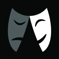 Theater masks icon or sign, vector illustration