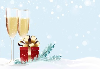 Two glasses of champagne and gift box on snowy background. Happy new year winter background. Vector illustration