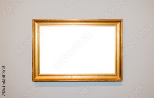 adc8ea3c117 Modern Golden Ornate Picture Frame Art Gallery Museum White Clipping Path  Isolated Template Wall
