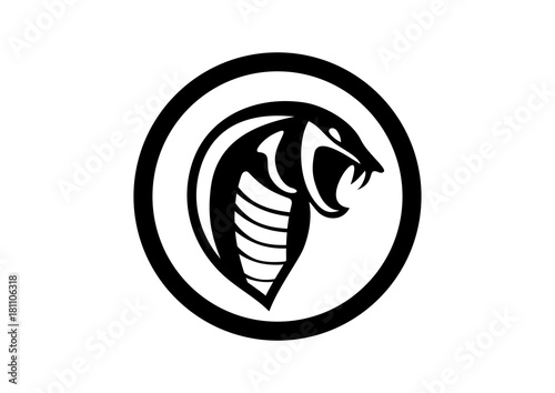 Black Circle Cobra Snake Silhouette Logo Symbol Stock Image And
