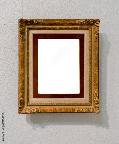 9d18441d136 Vintage Wood Texture Picture Frame Interior Decoration Art Gallery Museum  White Clipping Path Isolated Template White Wall Natural Shadows.