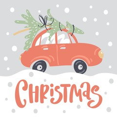 Merry christmas and happy new year greeting card template with cute retro car and christmas tree on the roof.