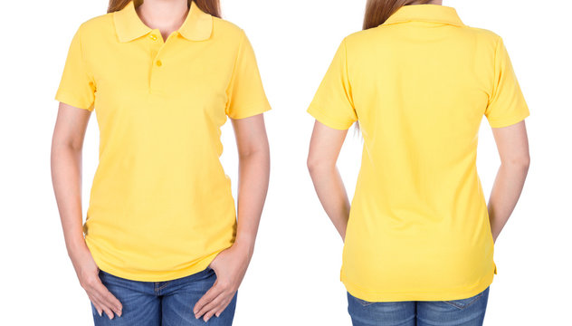 woman in yellow polo shirt isolated on white background