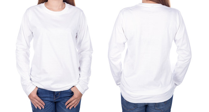 woman in white long sleeve t-shirt isolated on white background