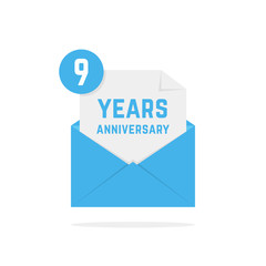 9 years anniversary icon in dark blue letter