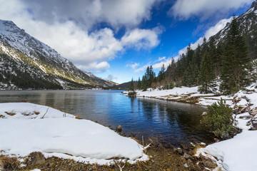 Eye of the Sea lake in Tatra mountains at winter, Poland
