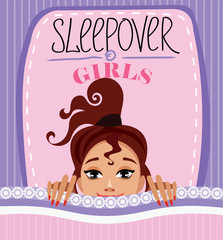 vector design poster for sleepover party, funny face gir