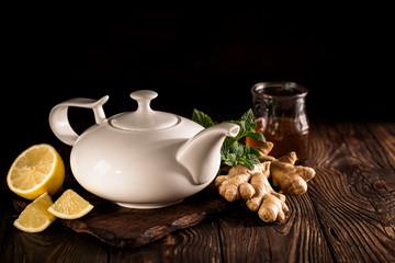 Aromatic healthy tea in pot
