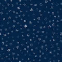 Christmas seamless pattern from snowflakes. New year festive texture for design postcards, invitations, greetings, and clothing.