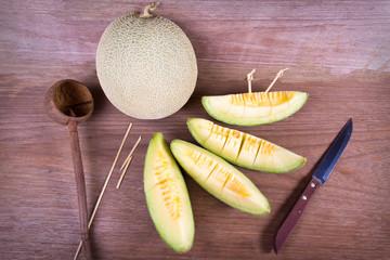 melon on wood background