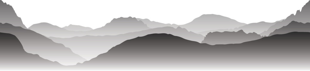 Zelfklevend Fotobehang Donkergrijs Landscape of gray mountains in the fog. Seamless vector illustration