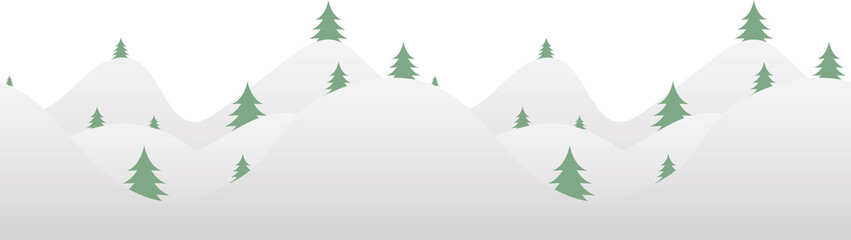 Seamless horizontal background with fur-tree and snow