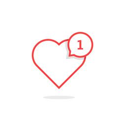 thin line heart like notification
