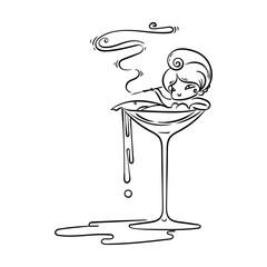 Beautiful cartoon girl in Martini glass with cigarette. Poison smoke