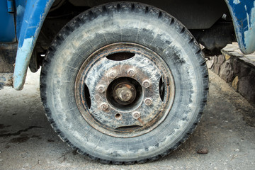 Dirty wheel of a lorry