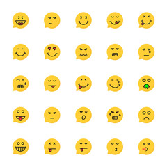 set of yellow emoji speech bubble
