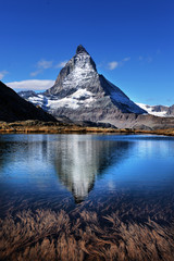 Poster Reflexion Mt Matterhorn reflected in Riffelsee Lake Zermatt Canton of Valais Switzerland