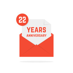 22 years anniversary icon in red open letter