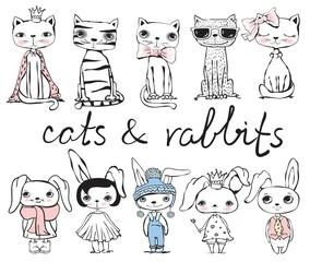 Cute hand drawn cats and rabbits