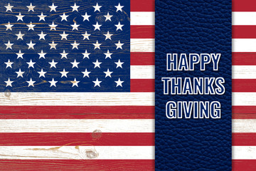happy thanksgiving, greeting card with us flag