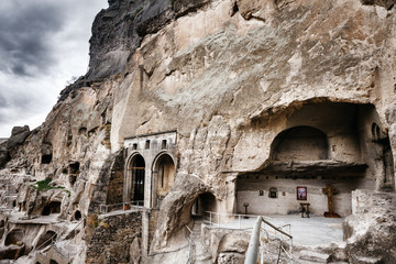 Church and chapel in Vardzia cave city-monastery in the Erusheti Mountain, Georgia